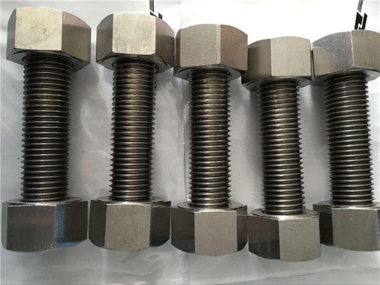 镍合金400 en2.4360全螺纹杆,带螺母紧固件